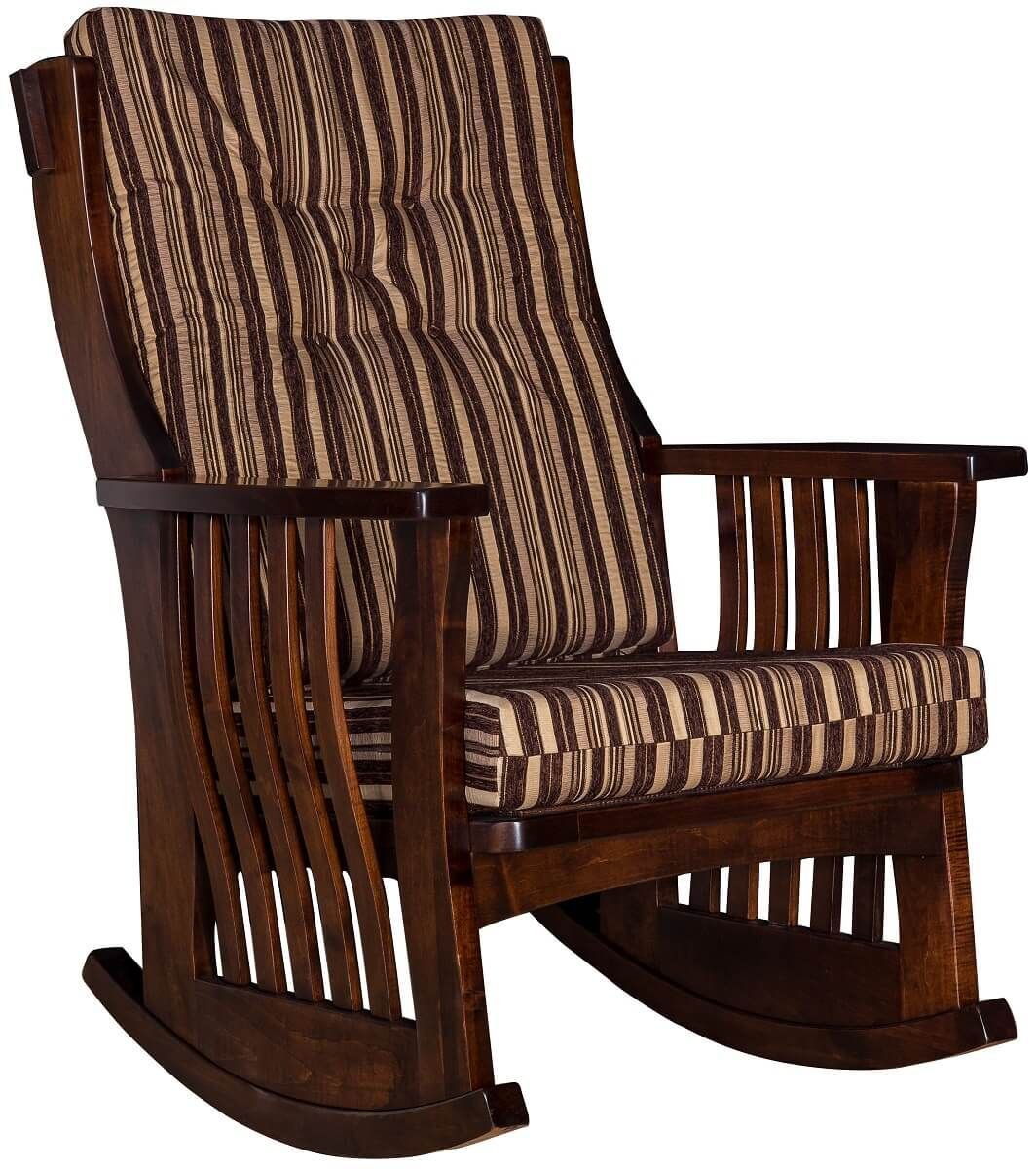 Brown Maple Rocking Chair with Cushions