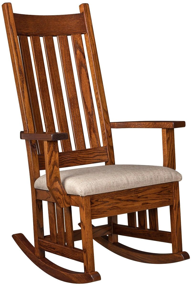 Mission Hardwood Rocker with Fabric Seat