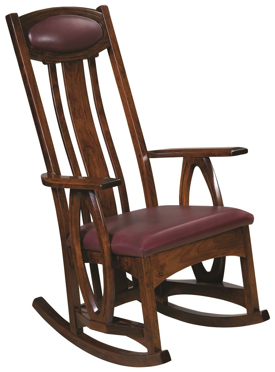 Cherry Rocking Chair with Leather Upholstery