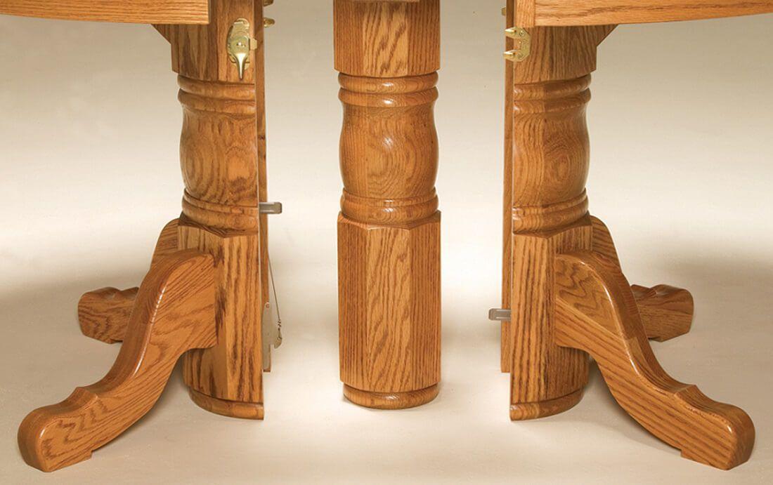 Split Pedestal Table Base Open