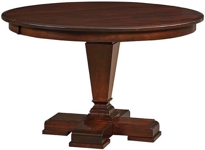 Alder Glen Round Pedestal Table in Brown Maple