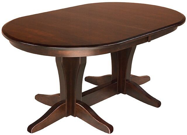 Bronte Double Pedestal Table in Brown Maple