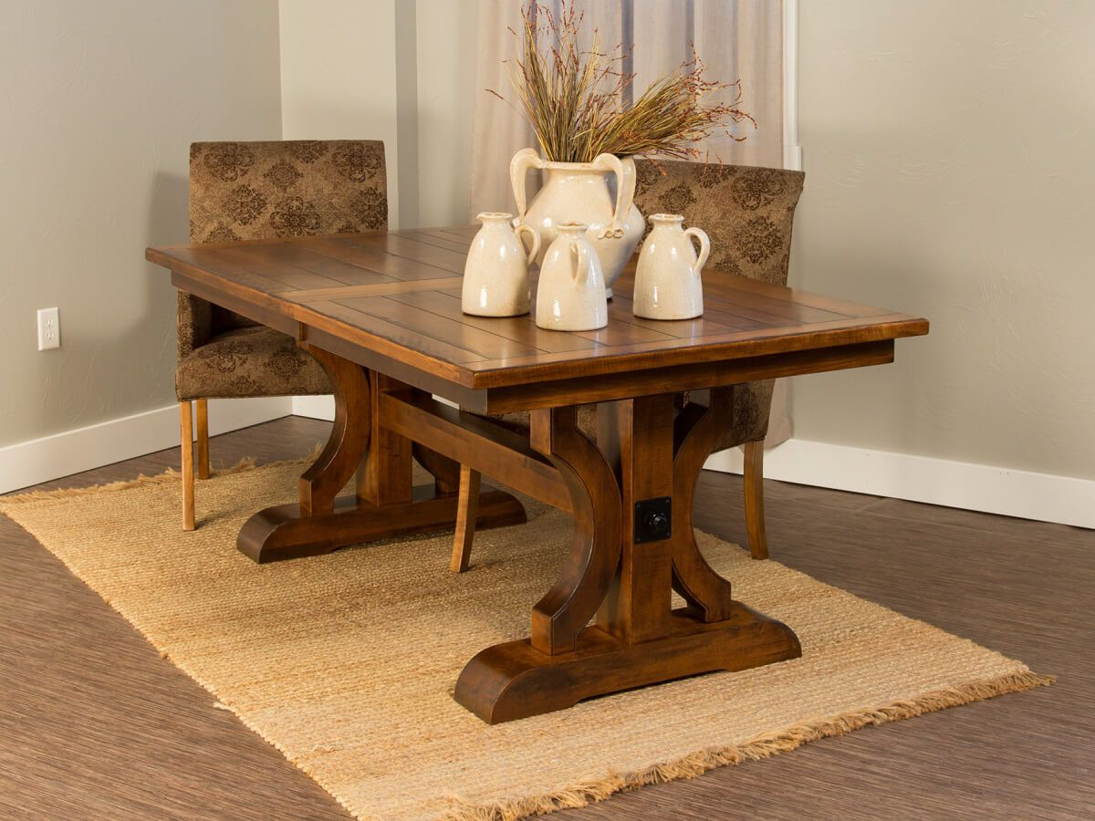dedon planked trestle dining table countryside amish furniture dedon dining table set
