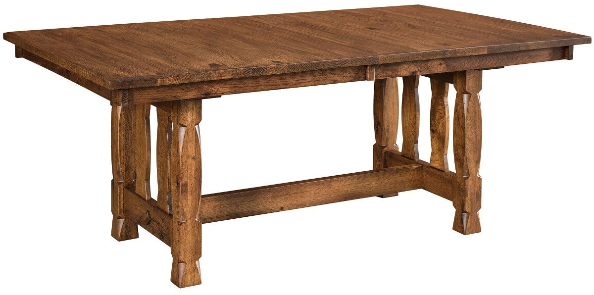 Rustic Hickory Trestle Table