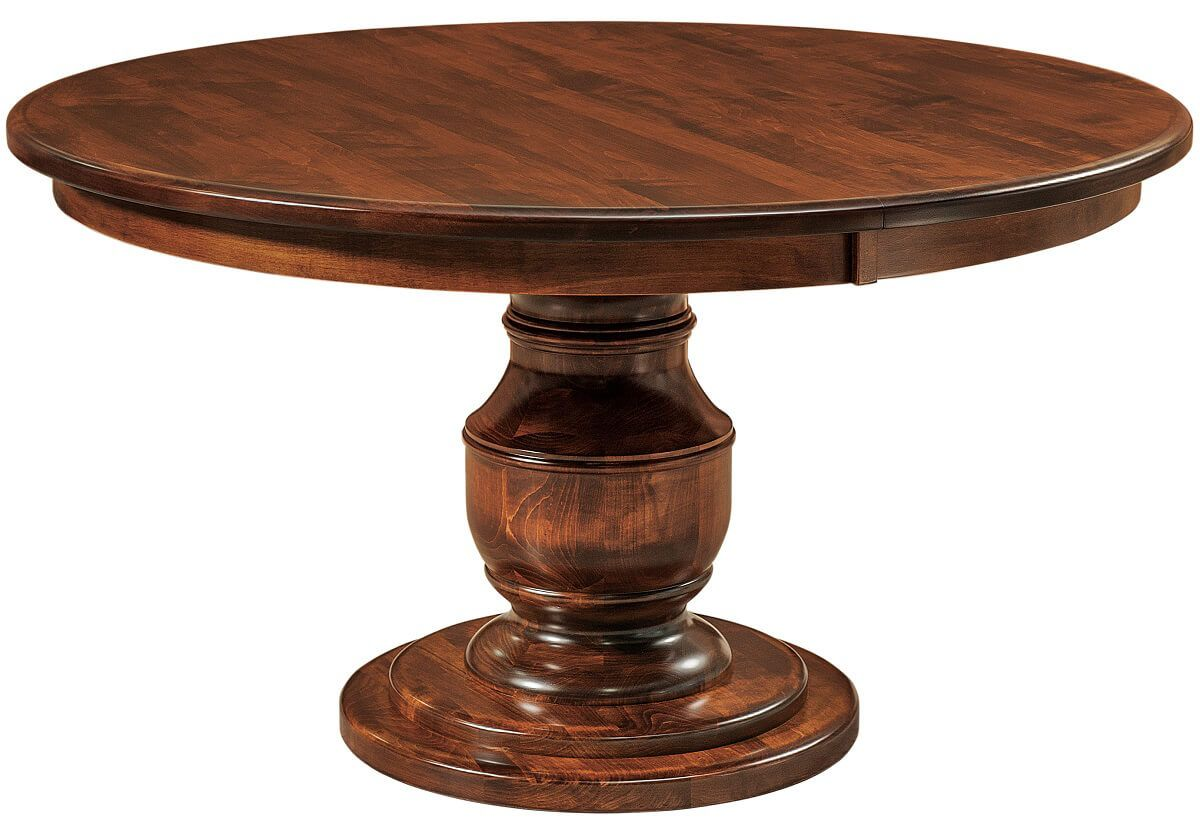 Benelux Round Pedestal Dining Table in Brown Maple