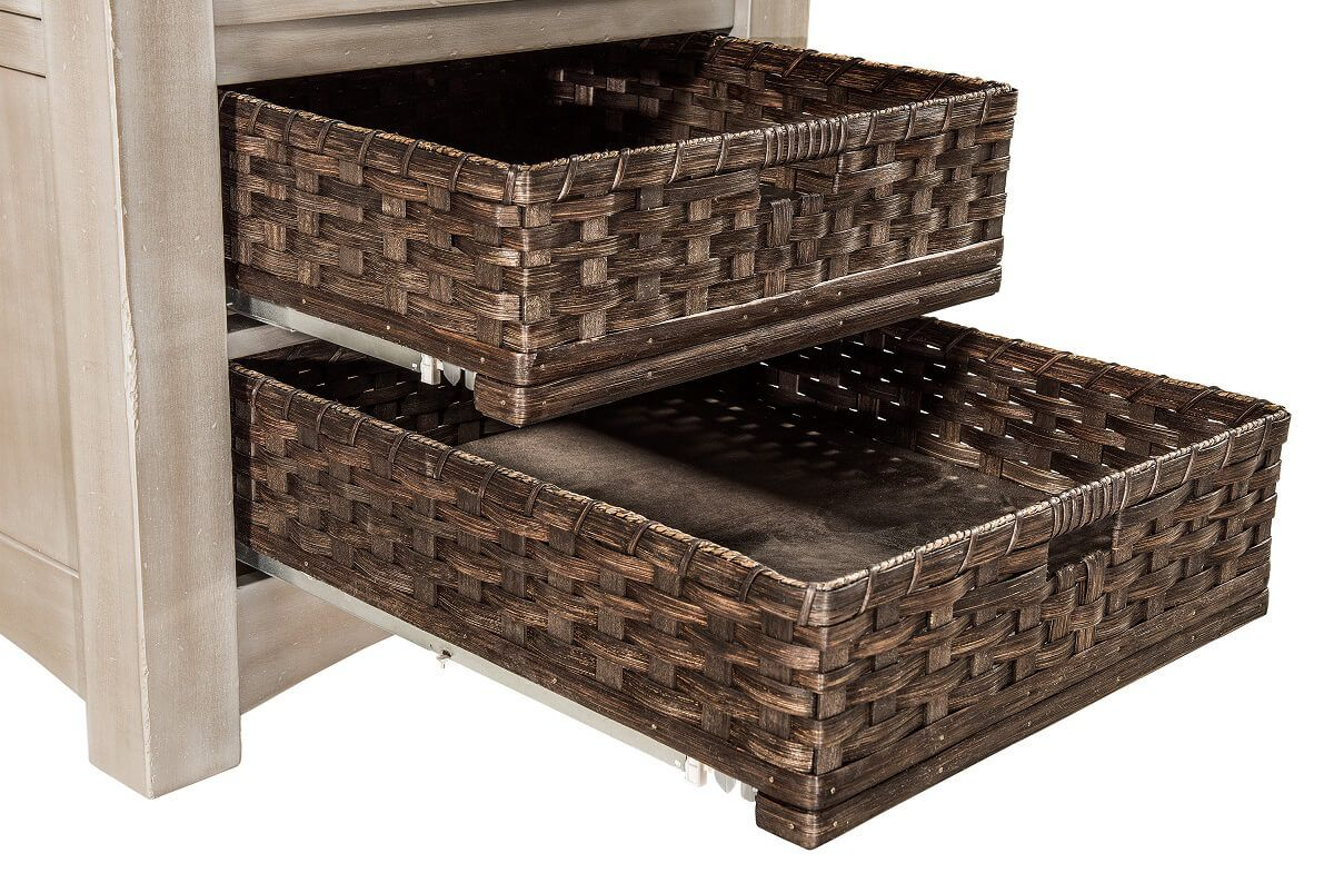 Basket drawers on Enfield Bar Table