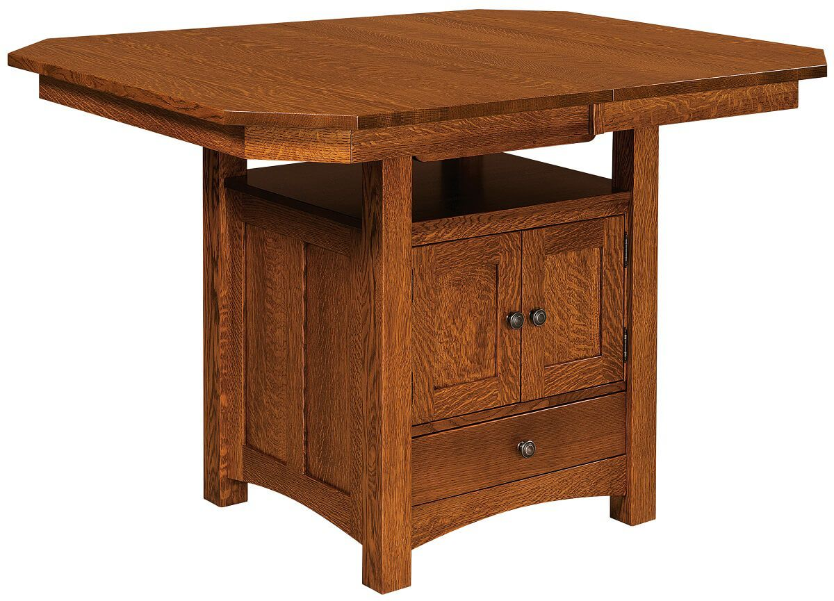 Mt. Marcy Butterfly Leaf Bar Table with Storage