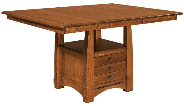 Sitka Craftsman Pub Table shown with Expansion Leaf