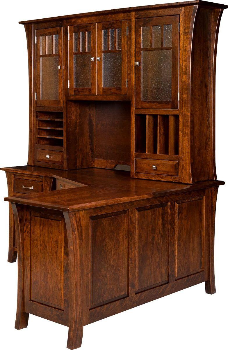 Rustic Cherry Corner Desk with Hutch