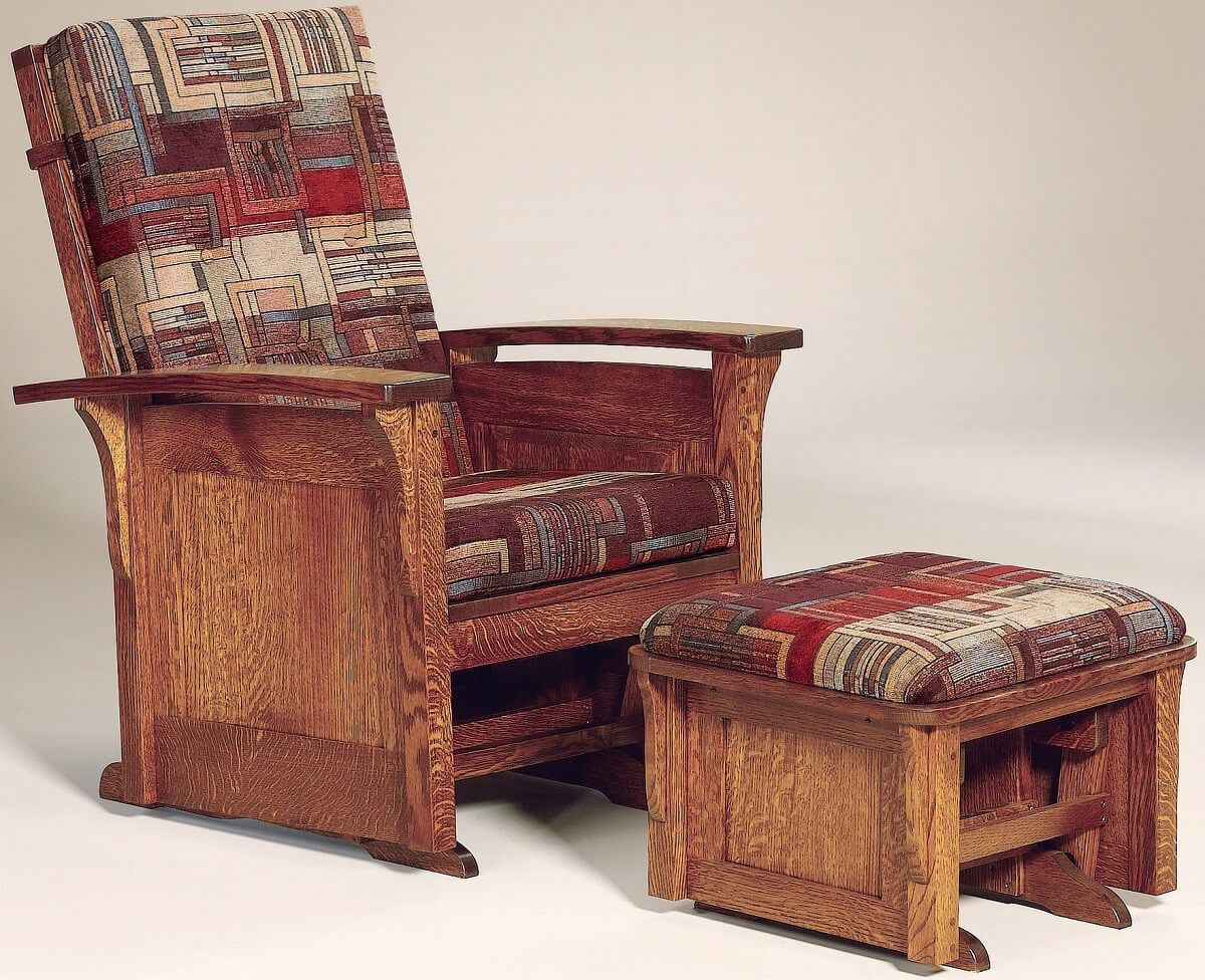 Hallstat Paneled Glider Chair and Ottoman