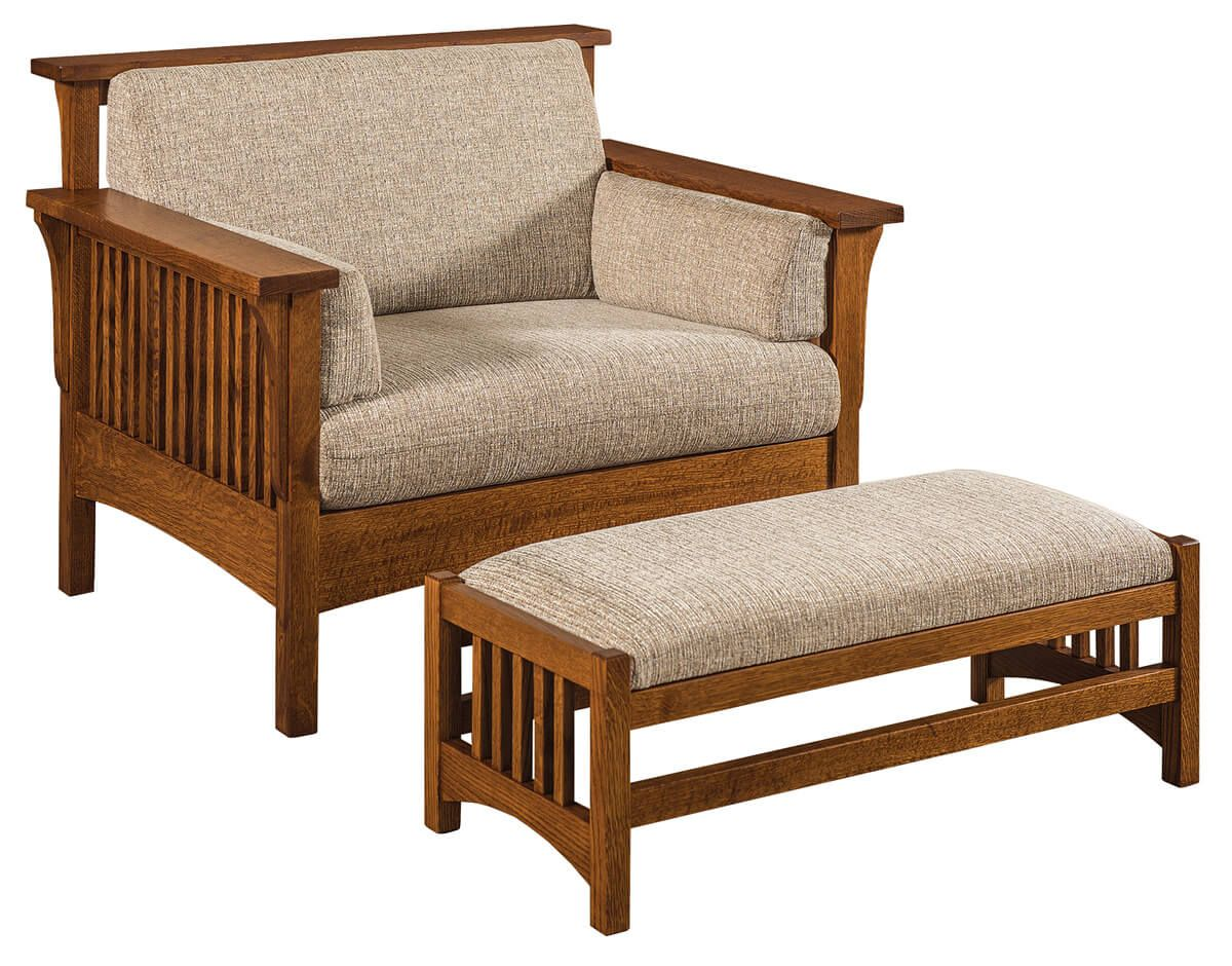 Jerome Slatted Chair and Ottoman