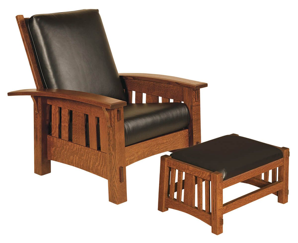 Morris Chair and Leather Footstool