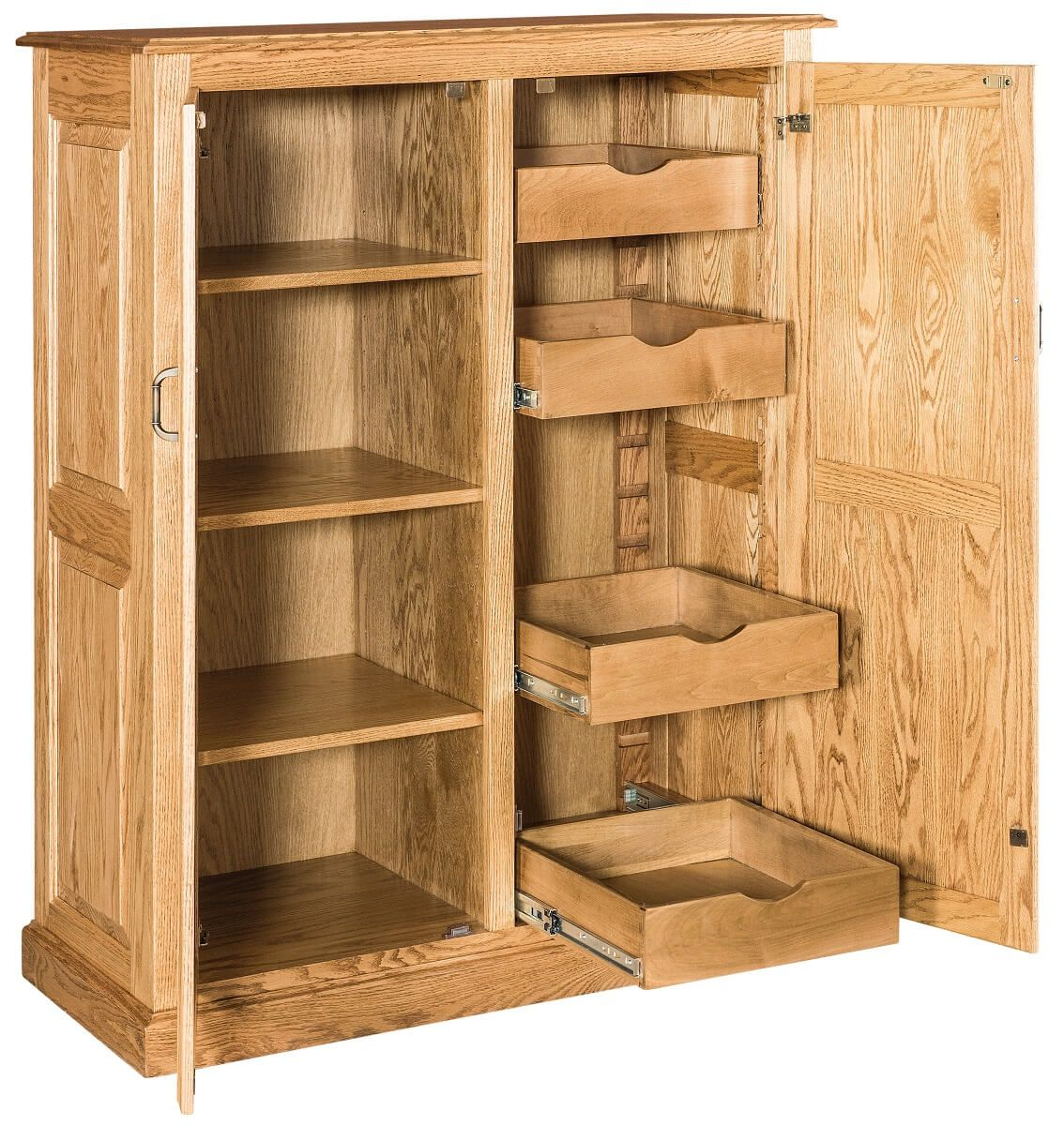 Oak Kitchen Pantry with Roll-Out Shelves