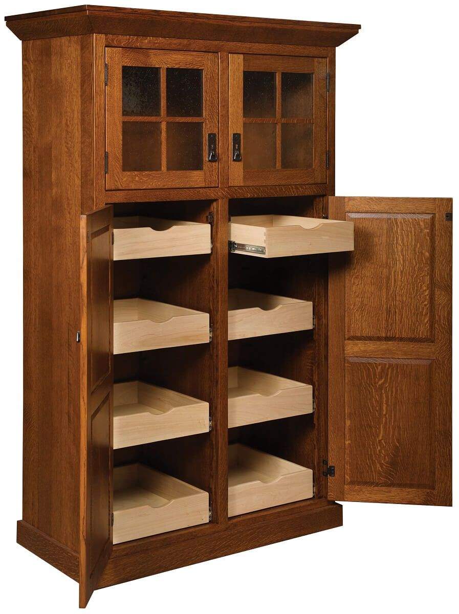Hardwood Pantry with Pull-Out Shelves