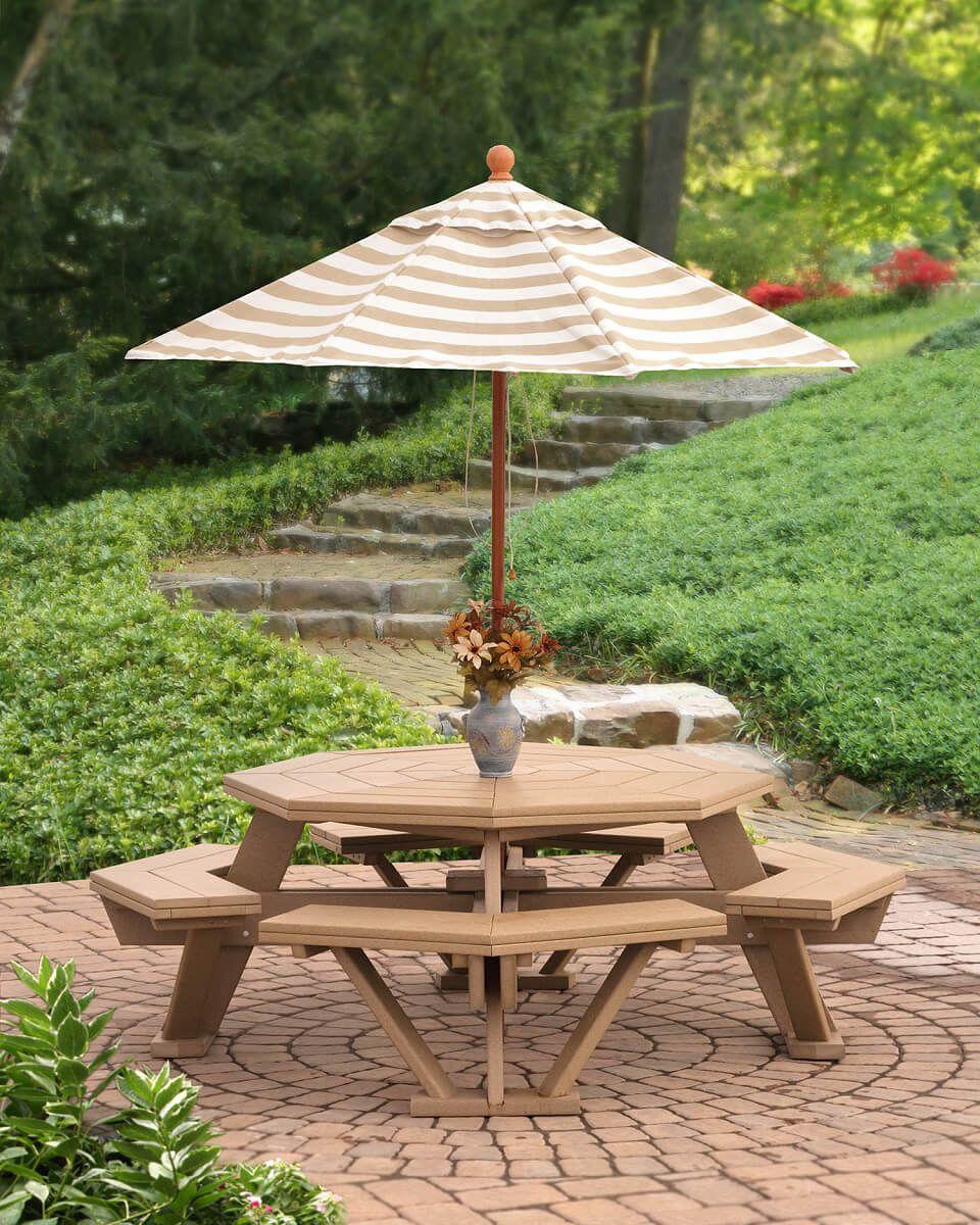 Delray Octagon Picnic Table with Outdoor Umbrella