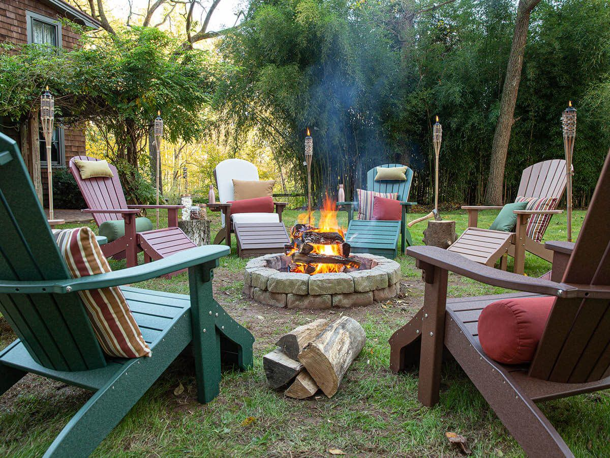 Avalon Poly Adirondack Chair and Ottomans