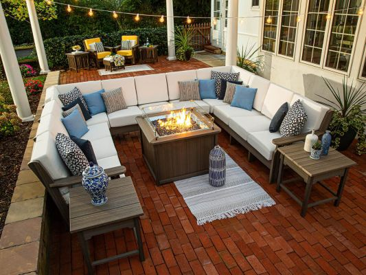 Amish Made Outdoor Sectional and Fire Pit