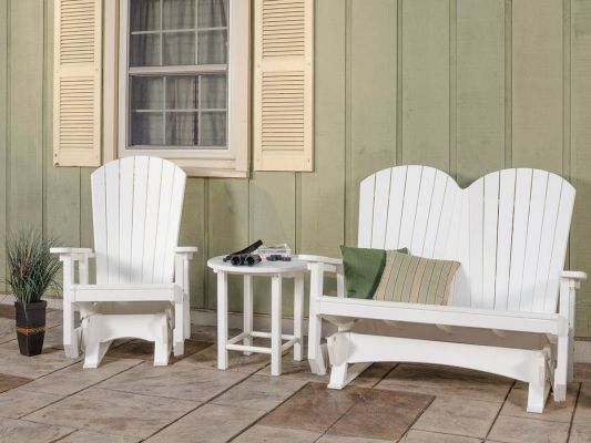 White Avalon Adirondack Glider Chair and Bench