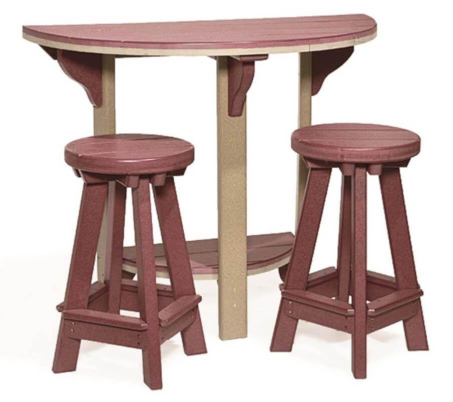Canova Beach Half Round Bar Table with stools