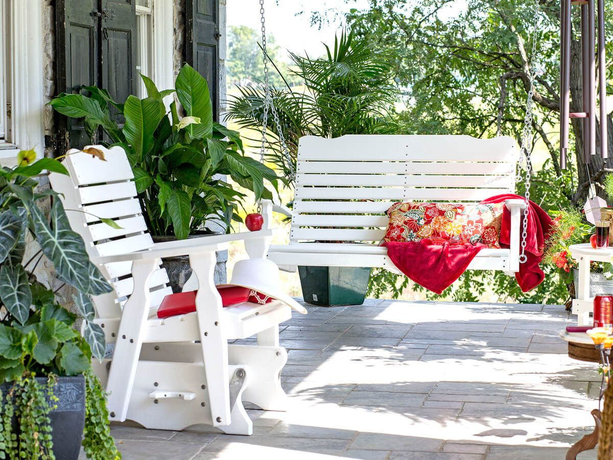 Amish hanging porch swing and patio chair
