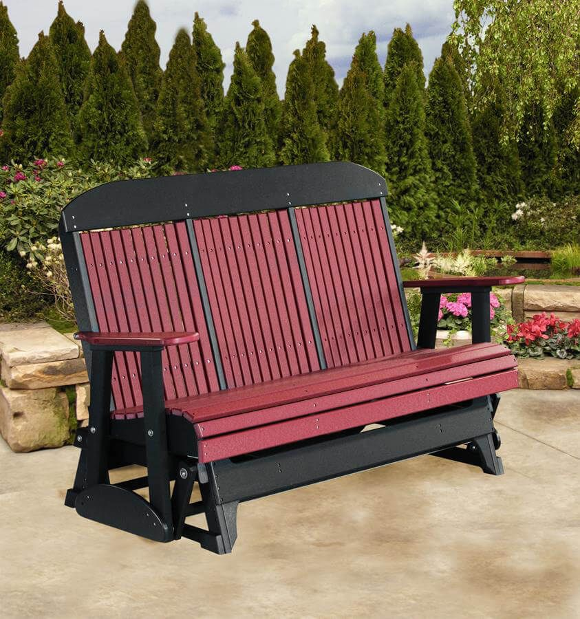 5' Stockton Outdoor Glider Bench, pictured in Cherrywood on Black