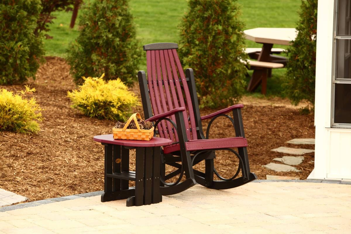 Pictured in Cherrywood on Black with matching outdoor side table