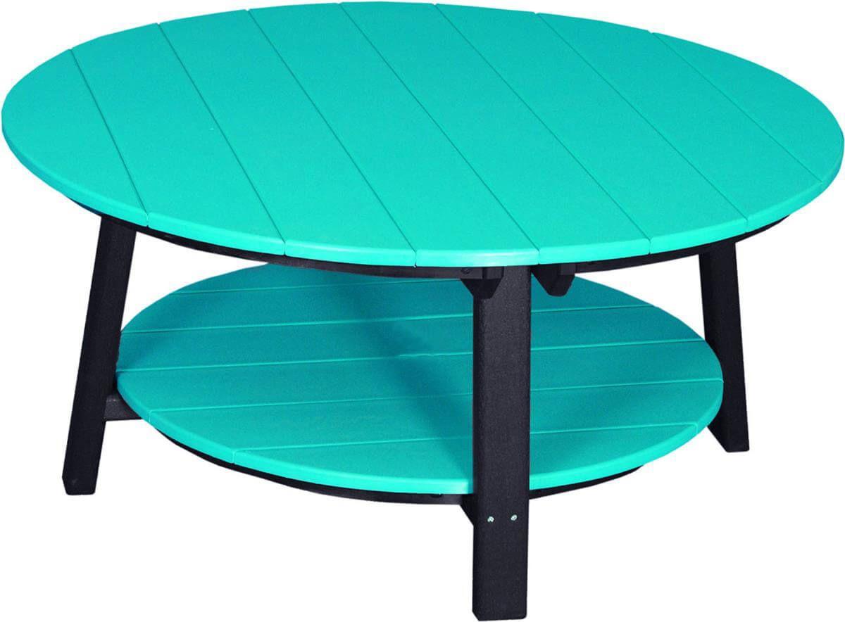 Rockaway Outdoor Coffee Table - Pictured in Aruba Blue on Black