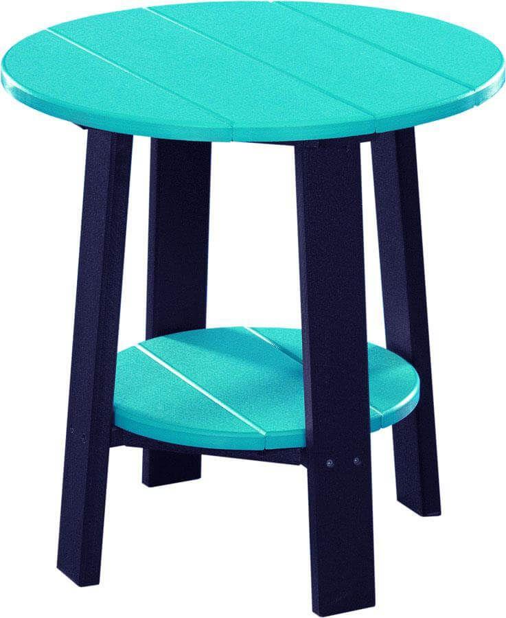 Rockaway Outdoor Side Table - Pictured in Aruba Blue on Black