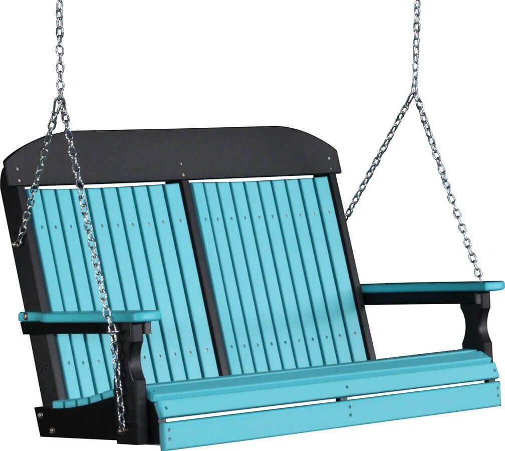 4' Stockton Porch Swing in Aruba Blue on Black
