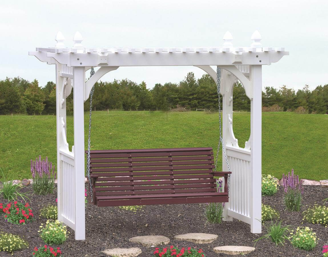 5' Stockton Porch Swing, pictured with vinyl swing stand