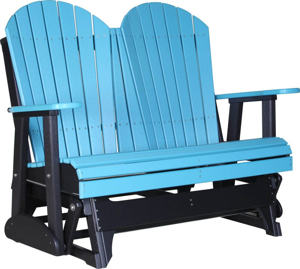 Tahiti Outdoor Glider Bench - Aruba Blue on Black - 4'