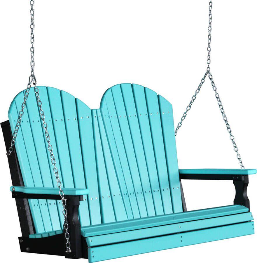 4' Tahiti Adirondack Porch Swing in Aruba Blue on Black