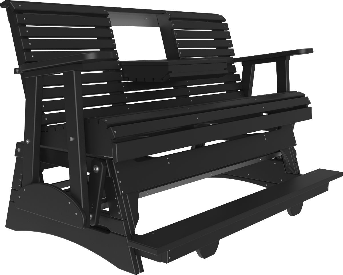 Black Cape Lookout Loveseat Balcony Glider with Console