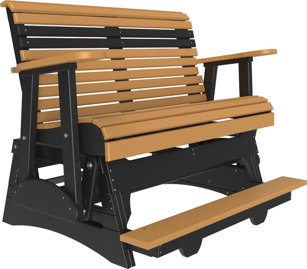 Cedar and Black Cape Lookout Loveseat Balcony Glider