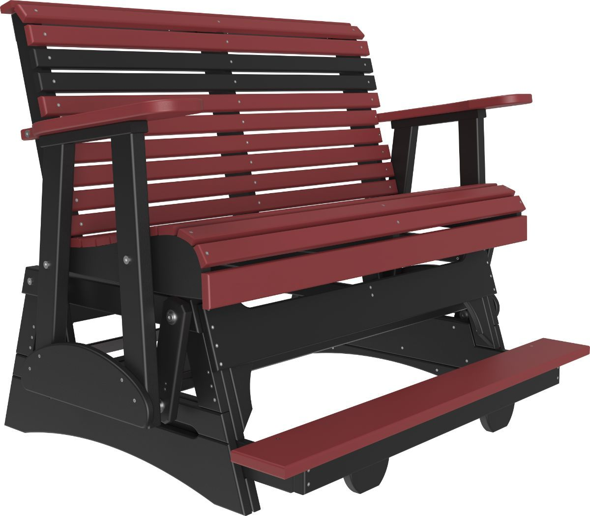 Cherrywood and Black Cape Lookout Loveseat Balcony Glider