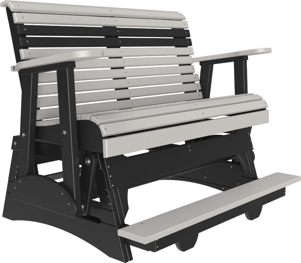 Dove Gray and Black Cape Lookout Loveseat Balcony Glider