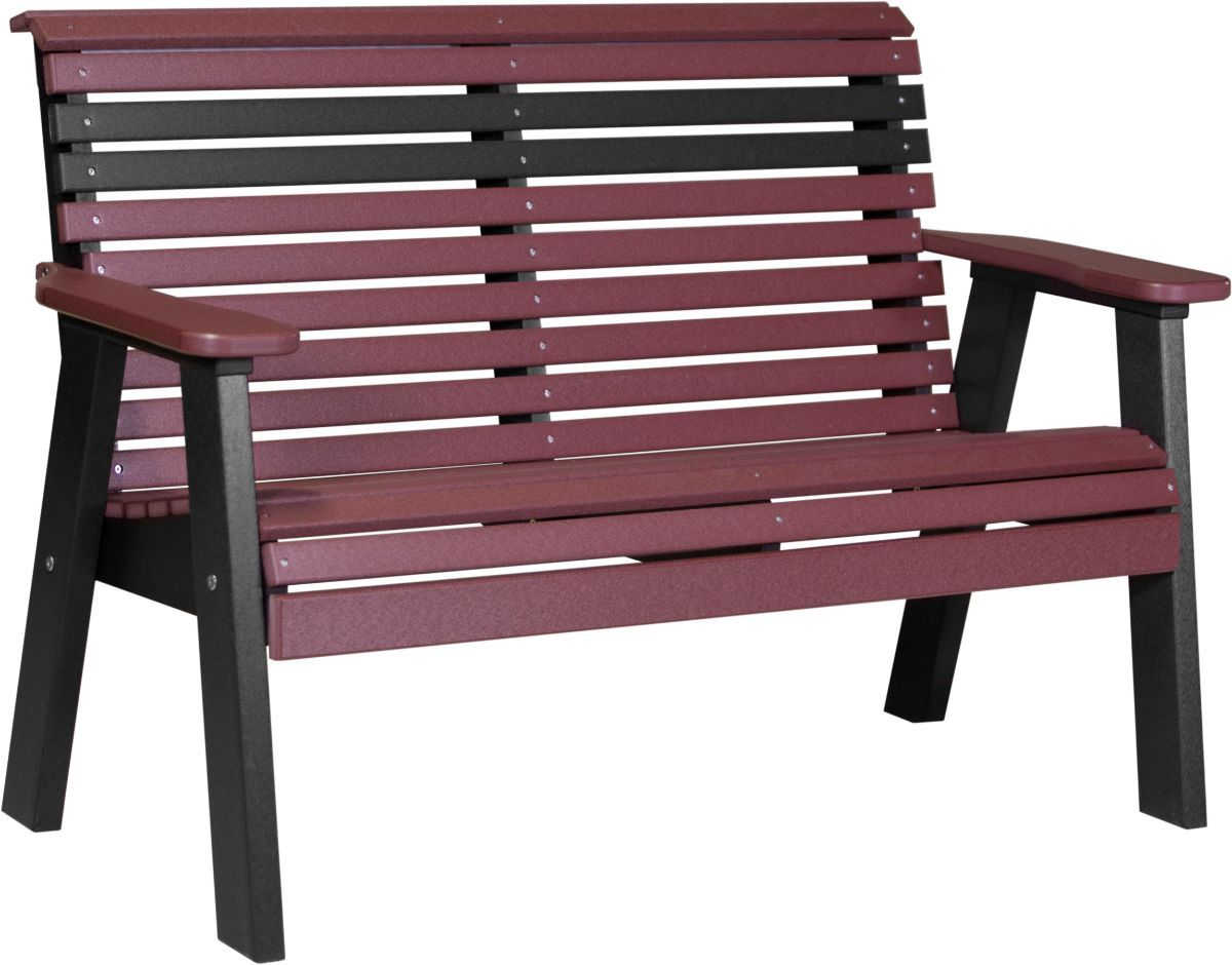 Cherrywood and Black Cape Lookout Patio Bench