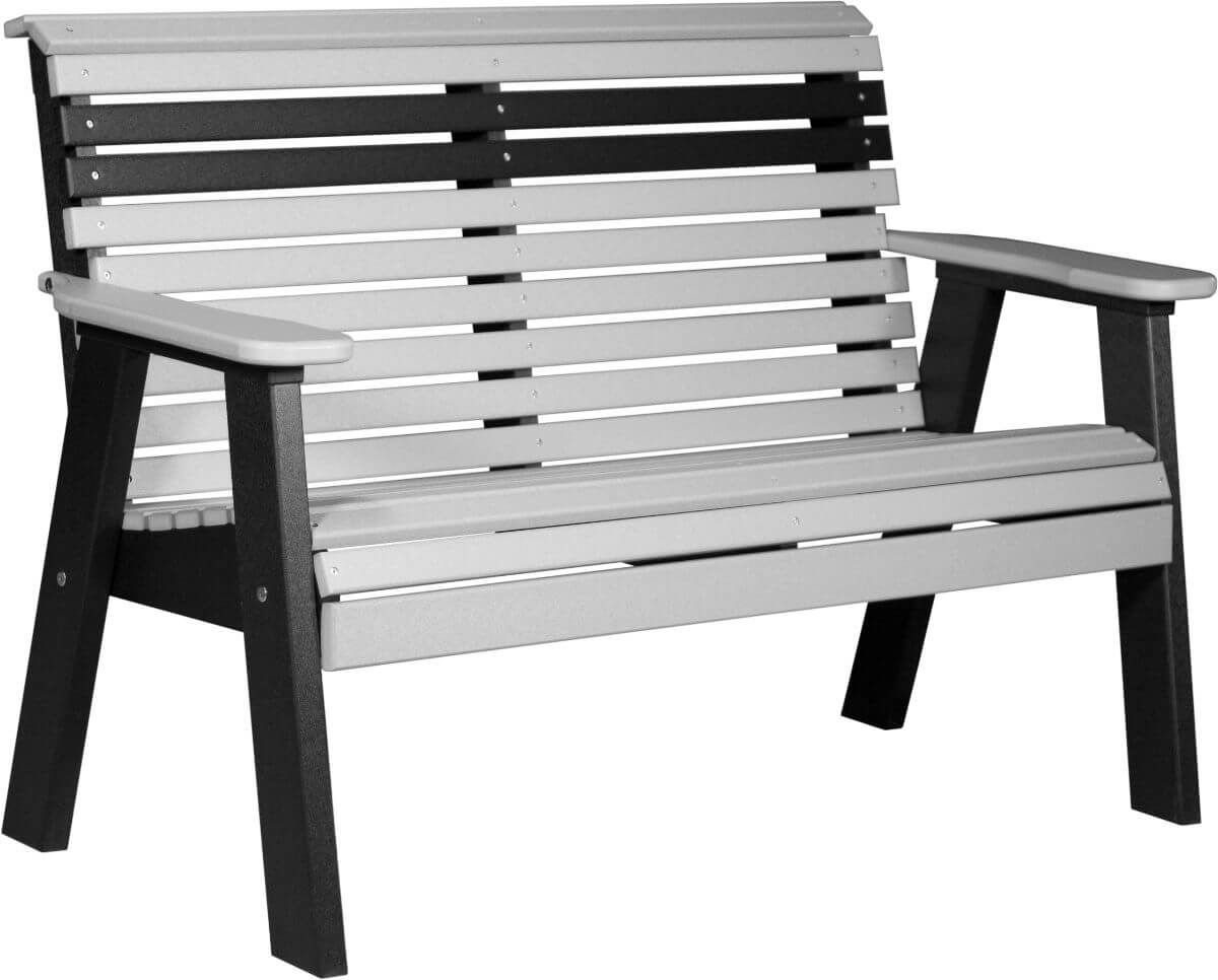 Dove Gray and Black Cape Lookout Patio Bench