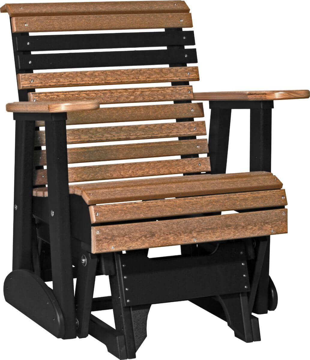 Antique Mahogany and Black Cape Lookout Patio Glider