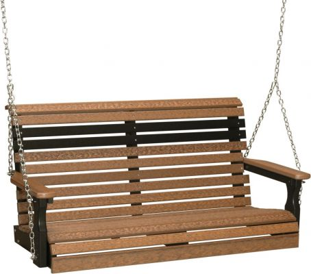 Antique Mahogany and Black Cape Lookout Porch Swing