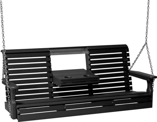 Black Cape Lookout Porch Swing with Console