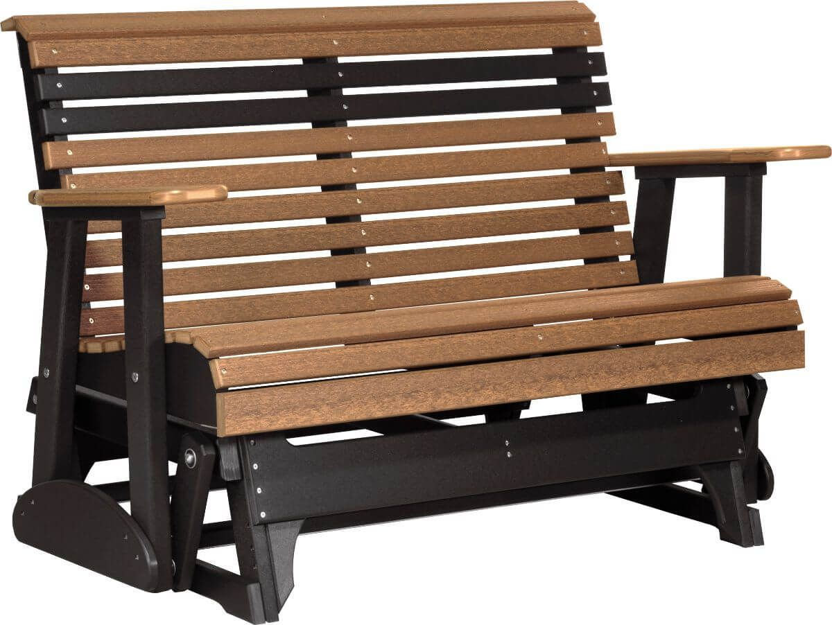 Antique Mahogany and Black Cape Lookout Patio Glider Bench