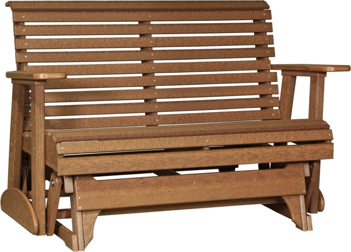 Antique Mahogany Cape Lookout Patio Glider Bench