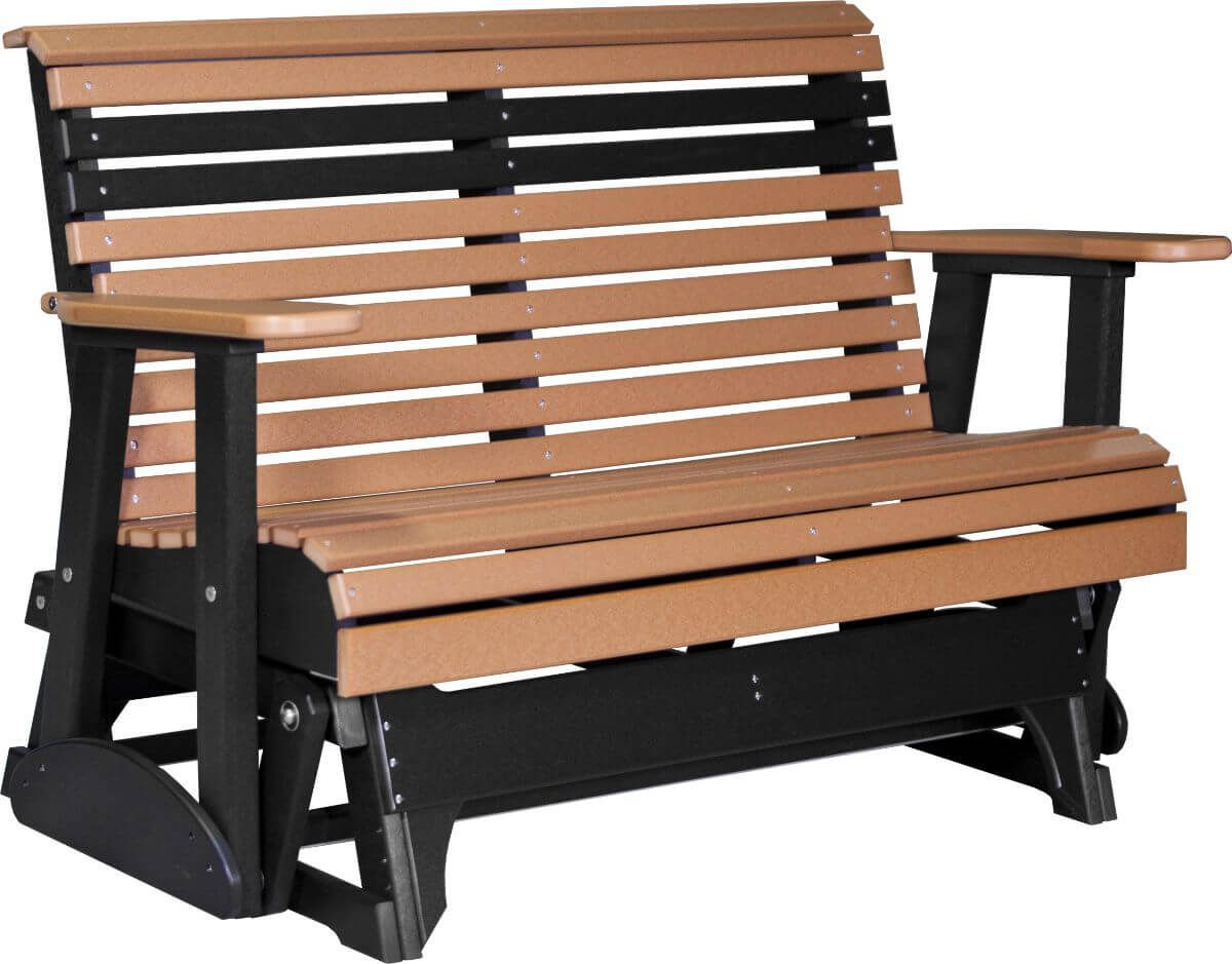 Cedar and Black Cape Lookout Patio Glider Bench