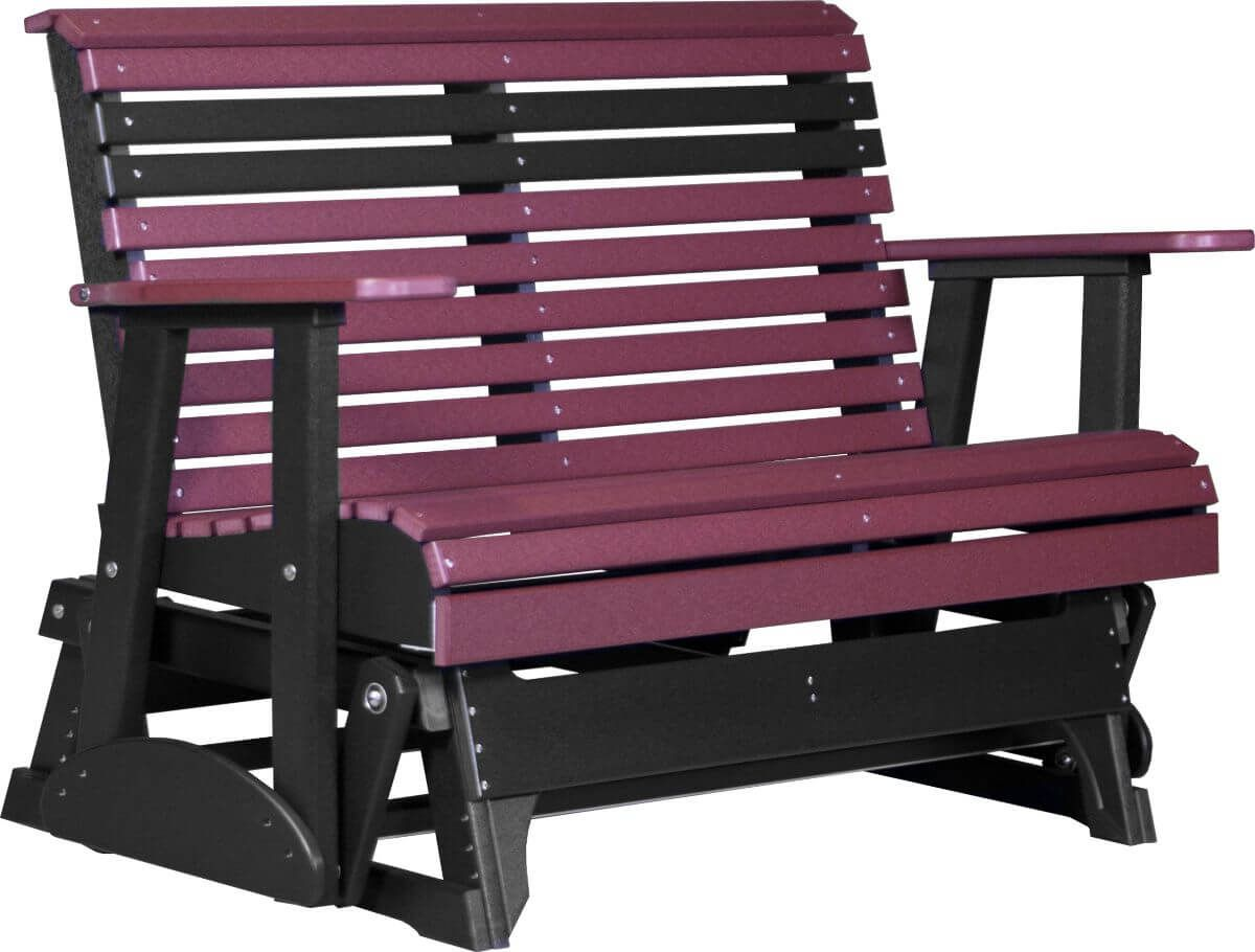 Cherrywood and Black Cape Lookout Patio Glider Bench