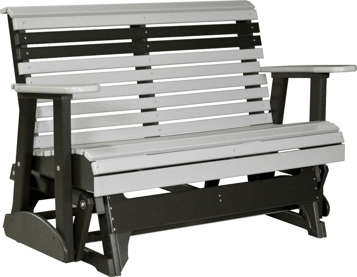 Dove Gray and Black Cape Lookout Patio Glider Bench