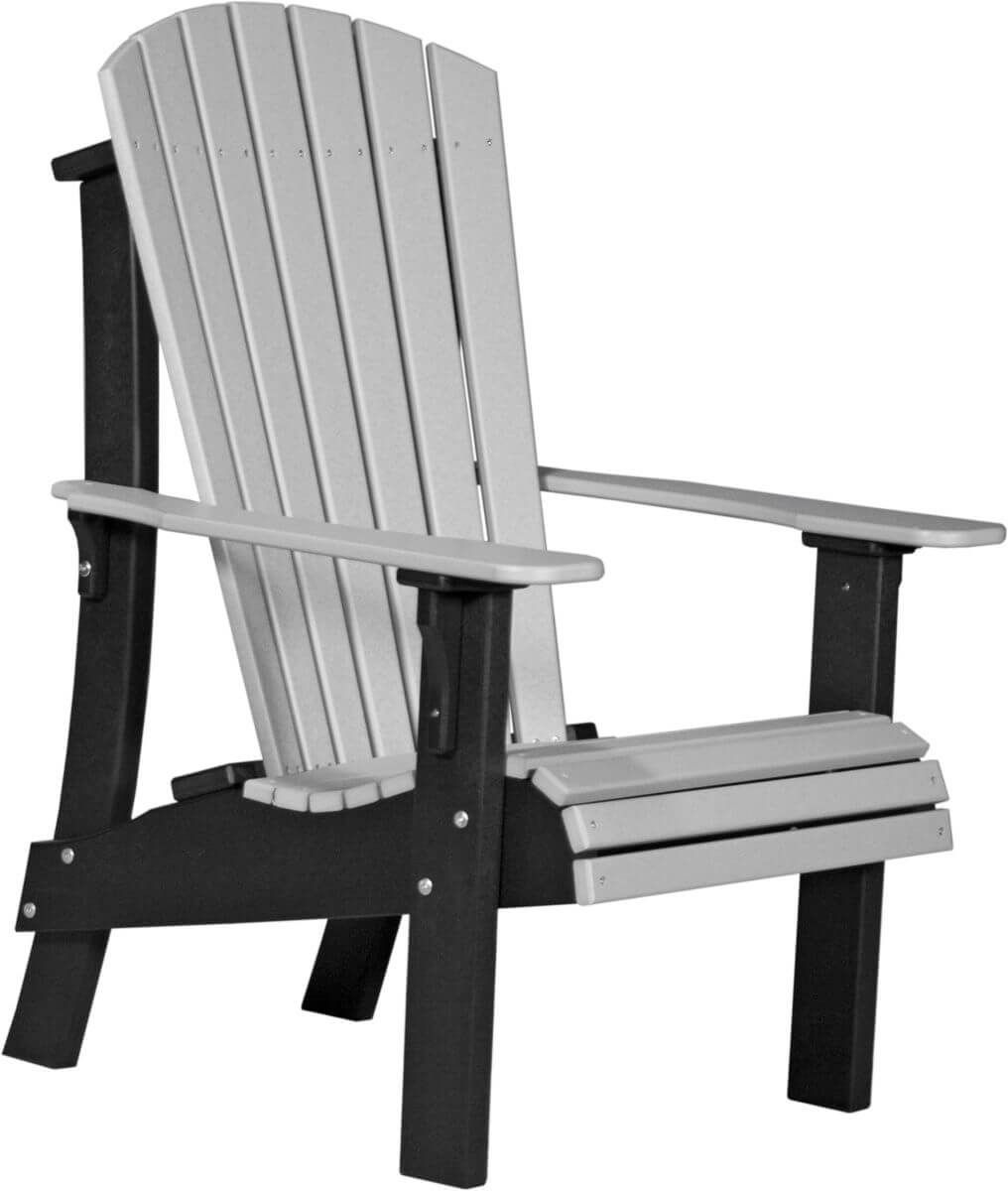 Dove Gray and Black Rockaway Highback Adirondack Chair