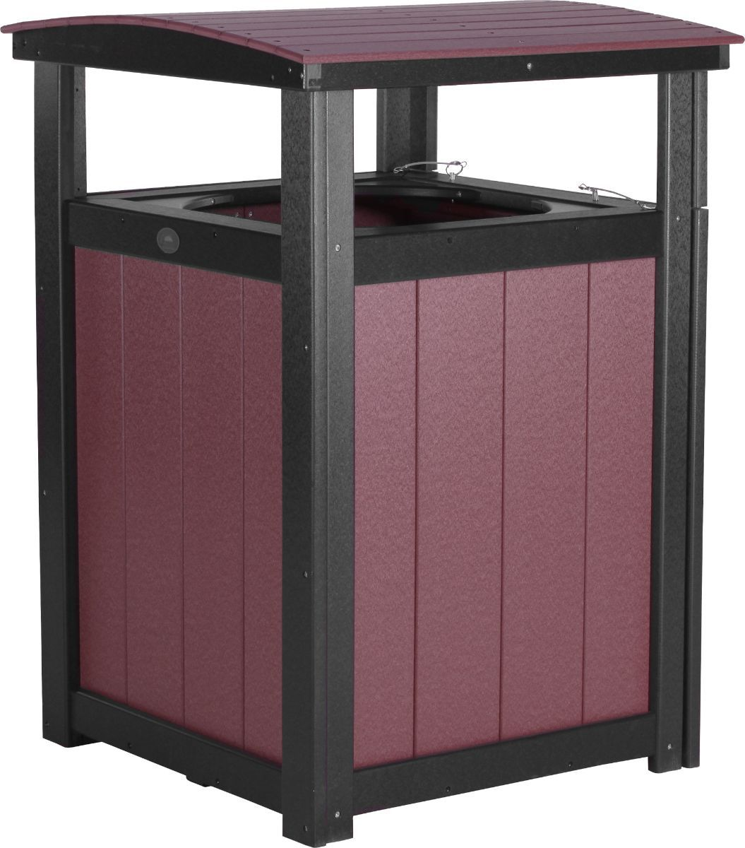Cherrywood and Black Pigeon Point Commercial Outdoor Trashcan