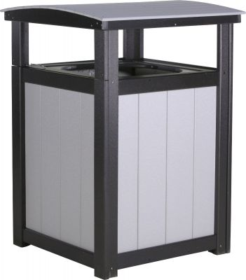 Dove Gray and Black Pigeon Point Commercial Outdoor Trashcan