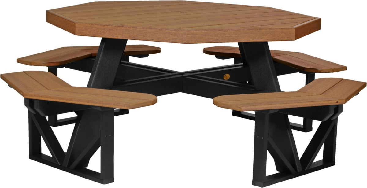 Antique Mahogany and Black Portstewart Poly Picnic Table